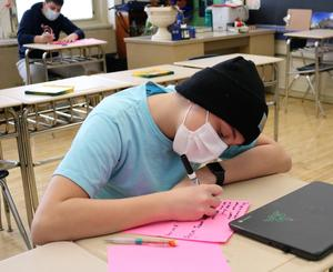 As part of Random Acts of Kindness Week, Roosevelt students made cards for members of the Westfield community, including senior citizens, first responders, and teachers past and present.  Pictured here:  8th grader making card.