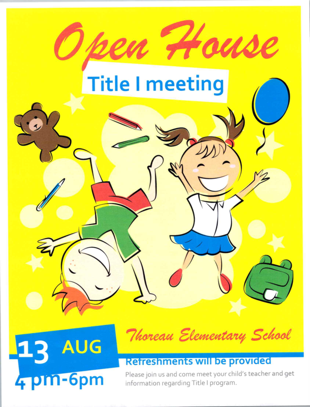Thoreau Elementary Open House: August 13th, 4 pm to 6 pm Featured Photo