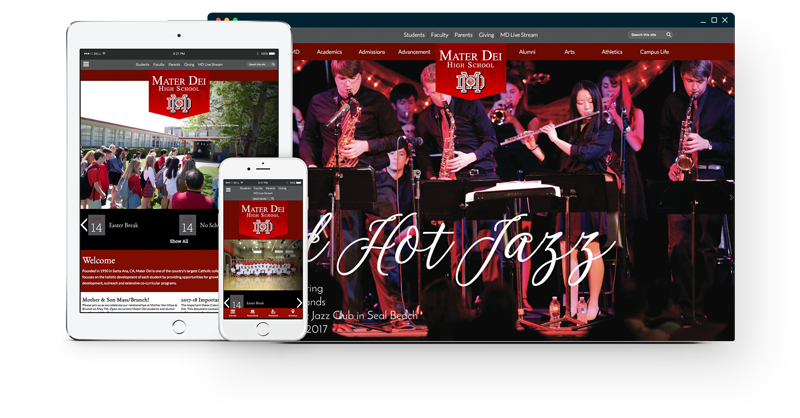 Mater Dei's website design