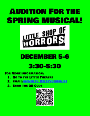 Little Shop of Horrow Auditions Flyer