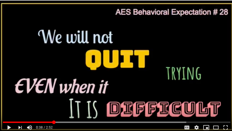 AES Behavioral Expectation Focus this week (April 8-12) is: