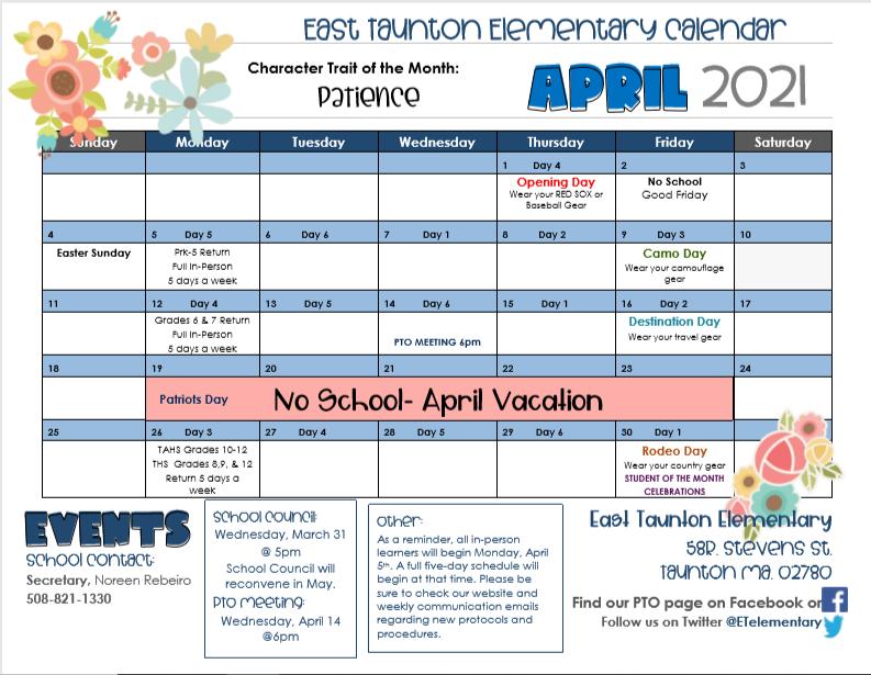 April School Calendar Featured Photo