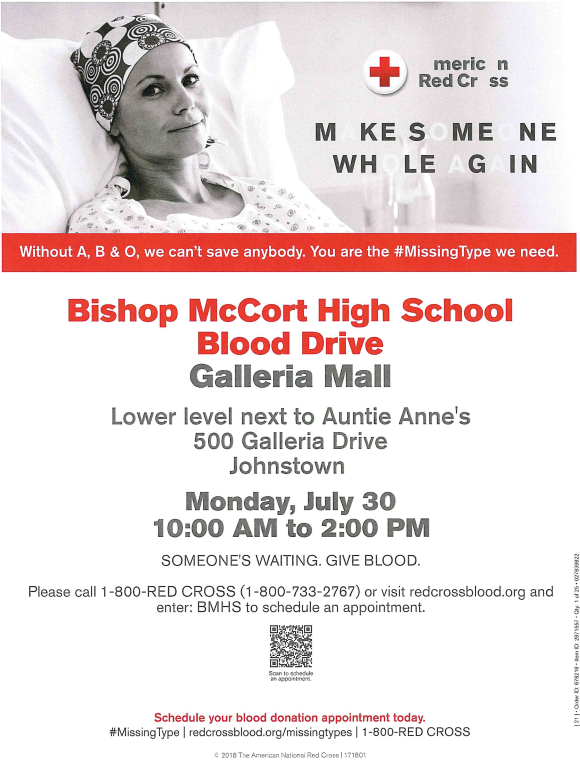 Bishop McCort High School Blood Drive Thumbnail Image