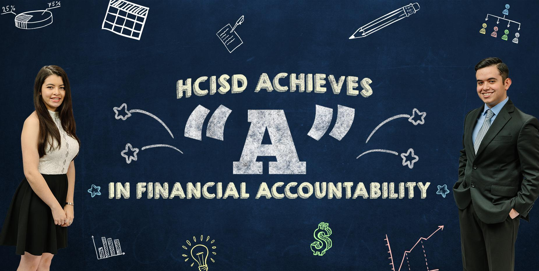Photo of two students standing near words that say HCISD Achieves