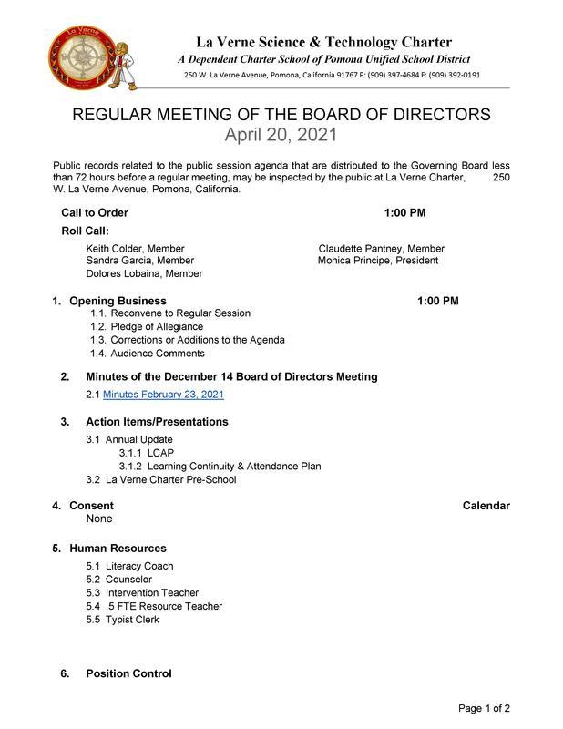 La Verne Charter - LCAP REGULAR MEETING OF THE BOARD OF DIRECTORS