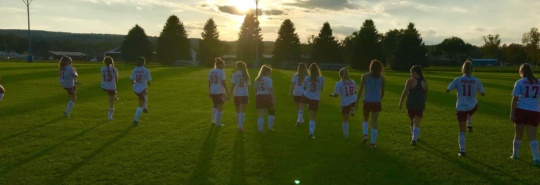 Soccer in the setting sun