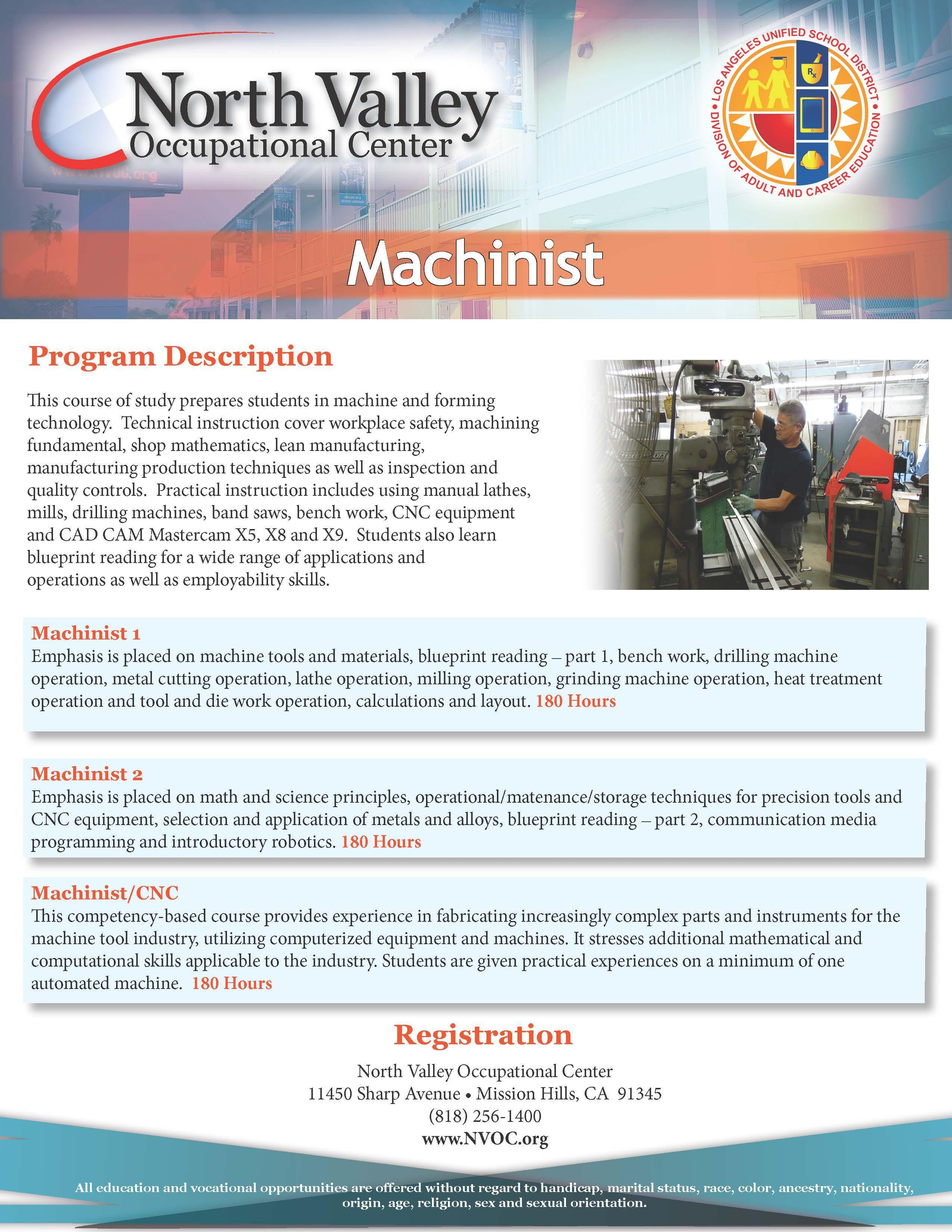 Machinist/CNC – Industrial Programs – North Valley