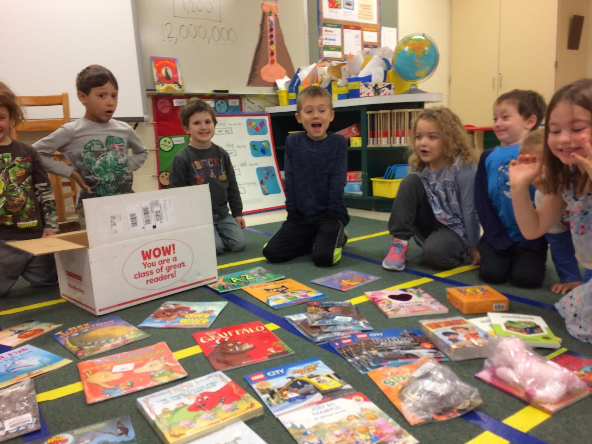 Young students excited about new books