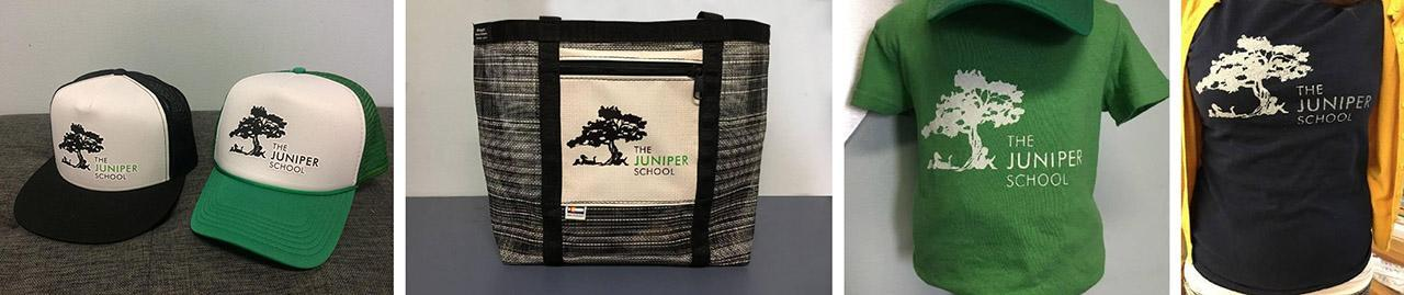 Juniper hats tote bags and shirts