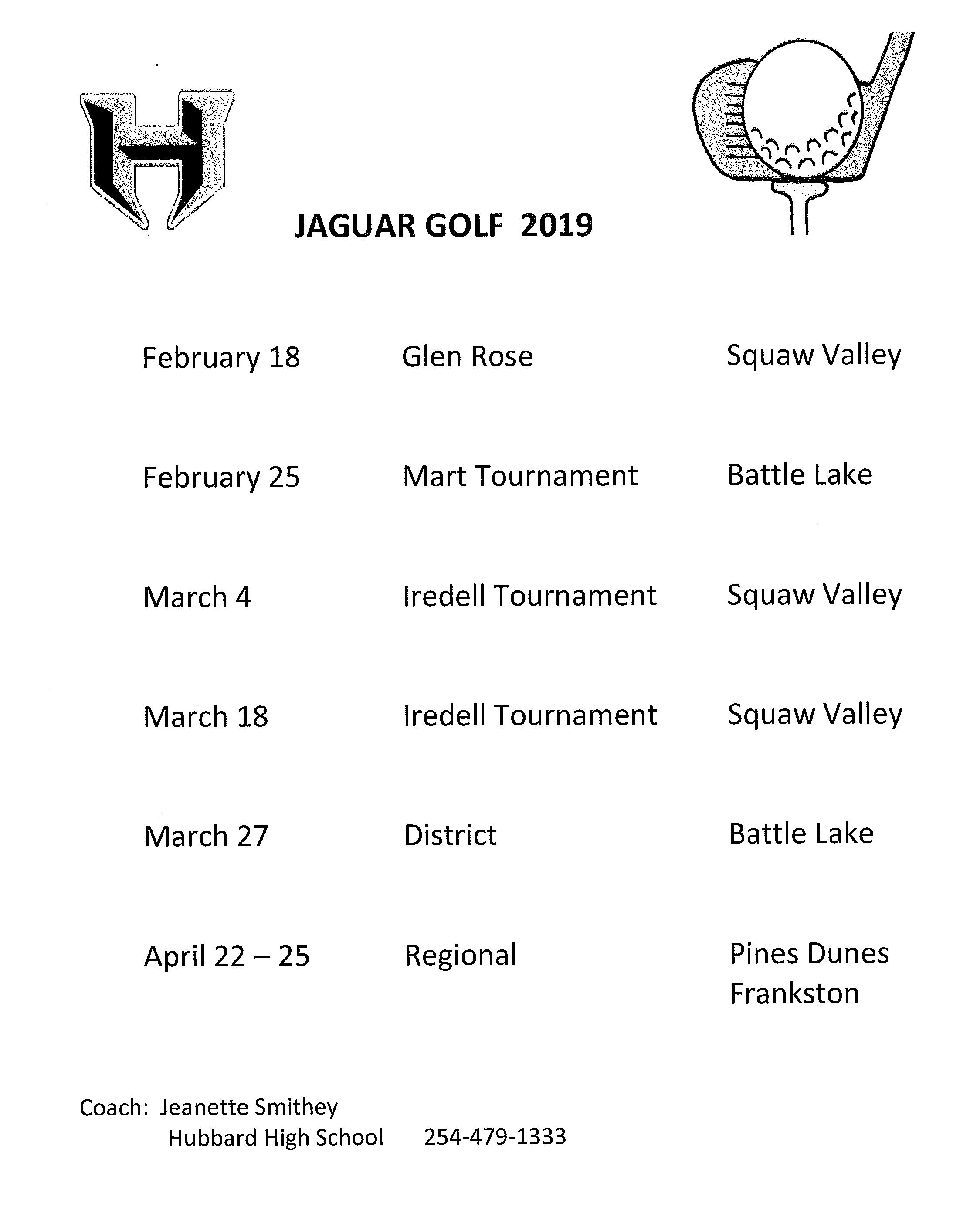 Golf Schedule 2019