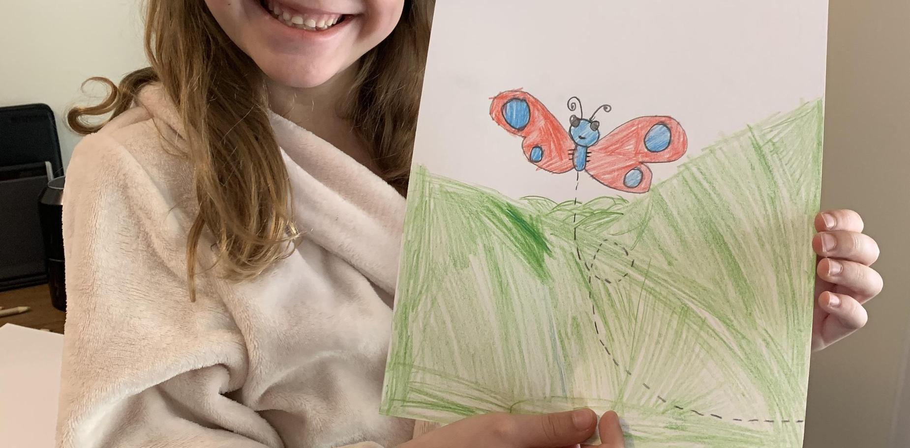 pic of girl with her artwork