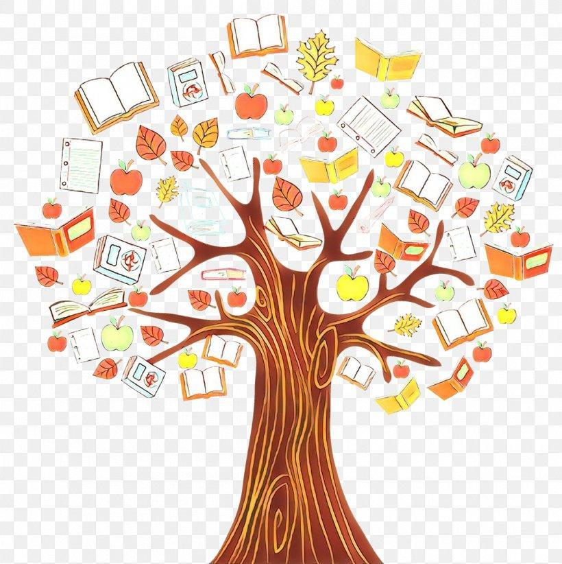 Trees with books and apples and leaves