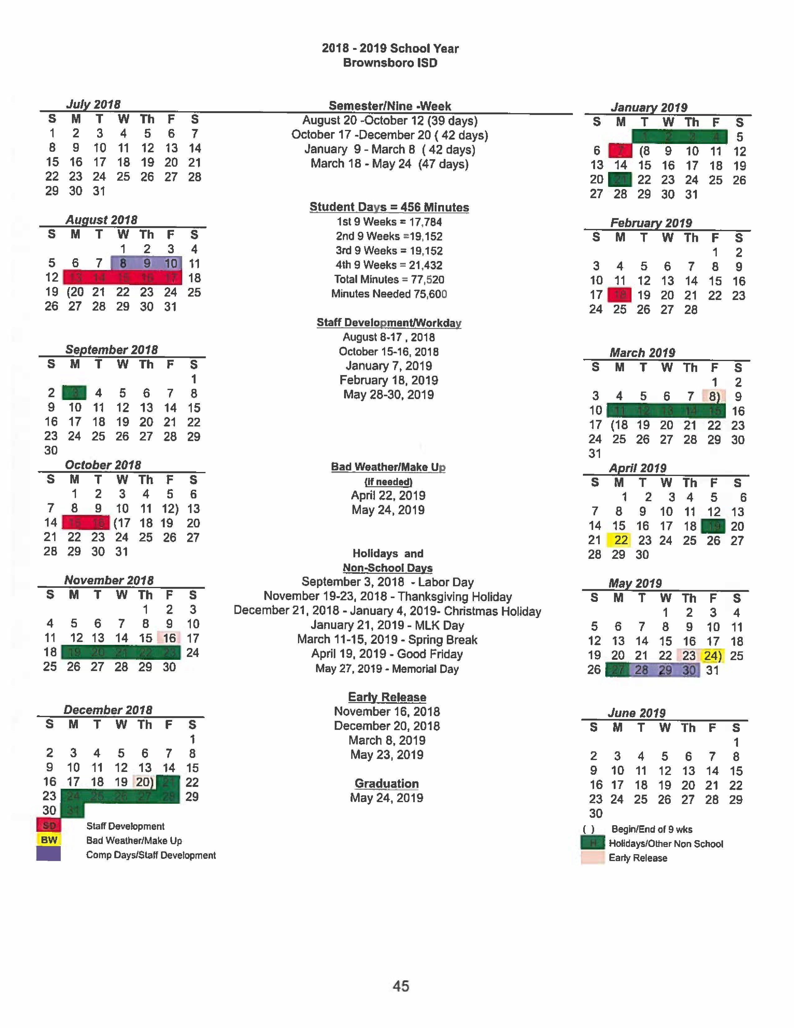 Brownsville Isd Calendar 2020 BISD Academic Calendar 2018 2019 – About BJH – Brownsboro Junior