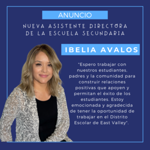 New Assistant Principal for EVHS Announced Mrs. Avalos
