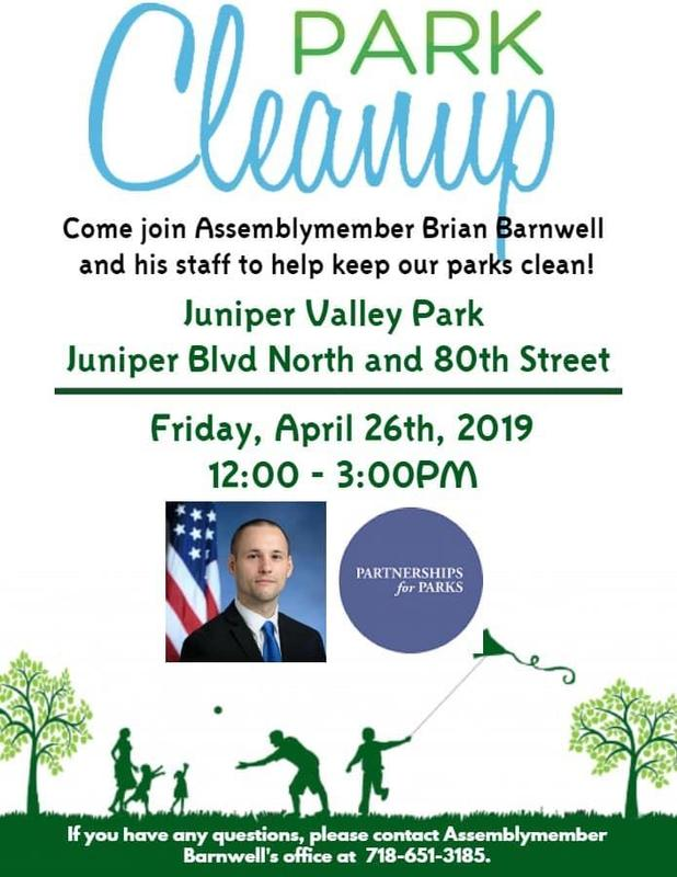 Maspeth High School Encourages Civic Participation . . . Join Assemblymember Brian Barnwell's Park Cleanup Featured Photo