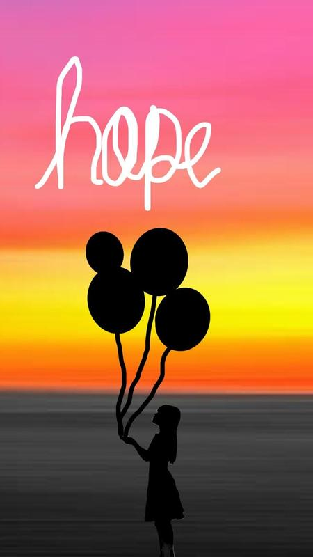Hope poster of girl with balloons