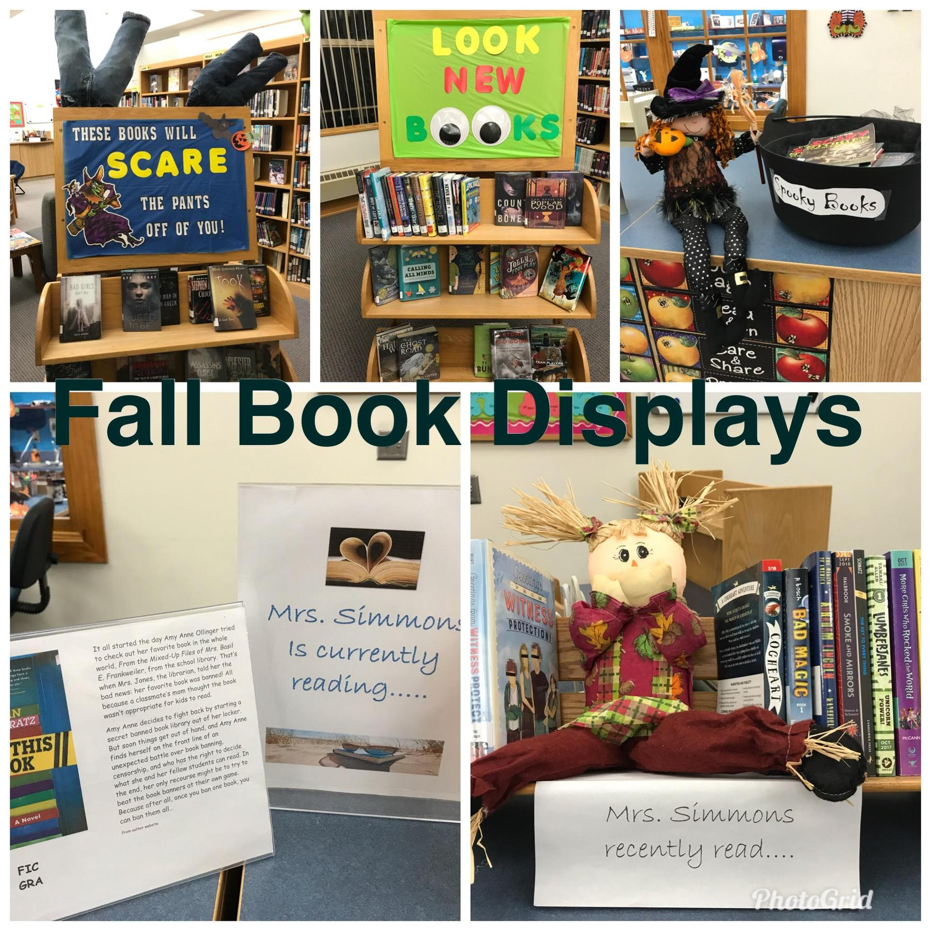 photo of 5 book displays
