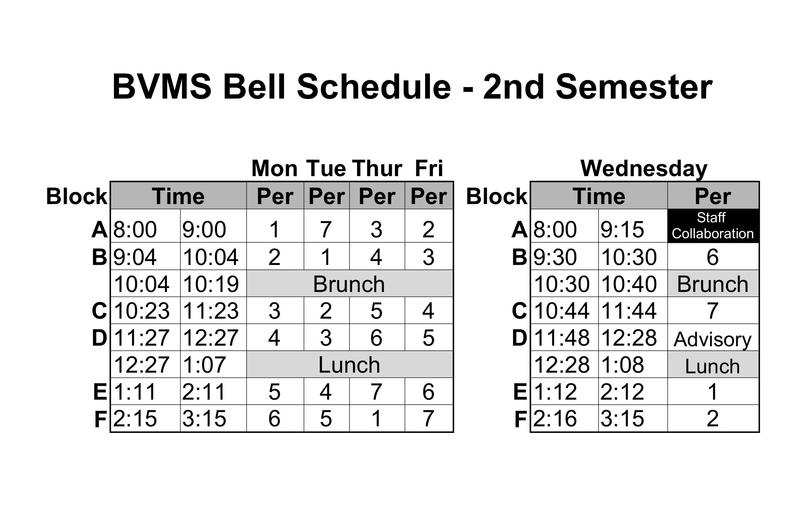 BVMS Bell Schedule For 2nd Semester Has Changed From Early Release Thursday to Late Start Wednesday Featured Photo