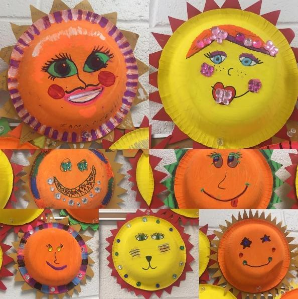 Coco suns created on paper plates by 4th grade art students.
