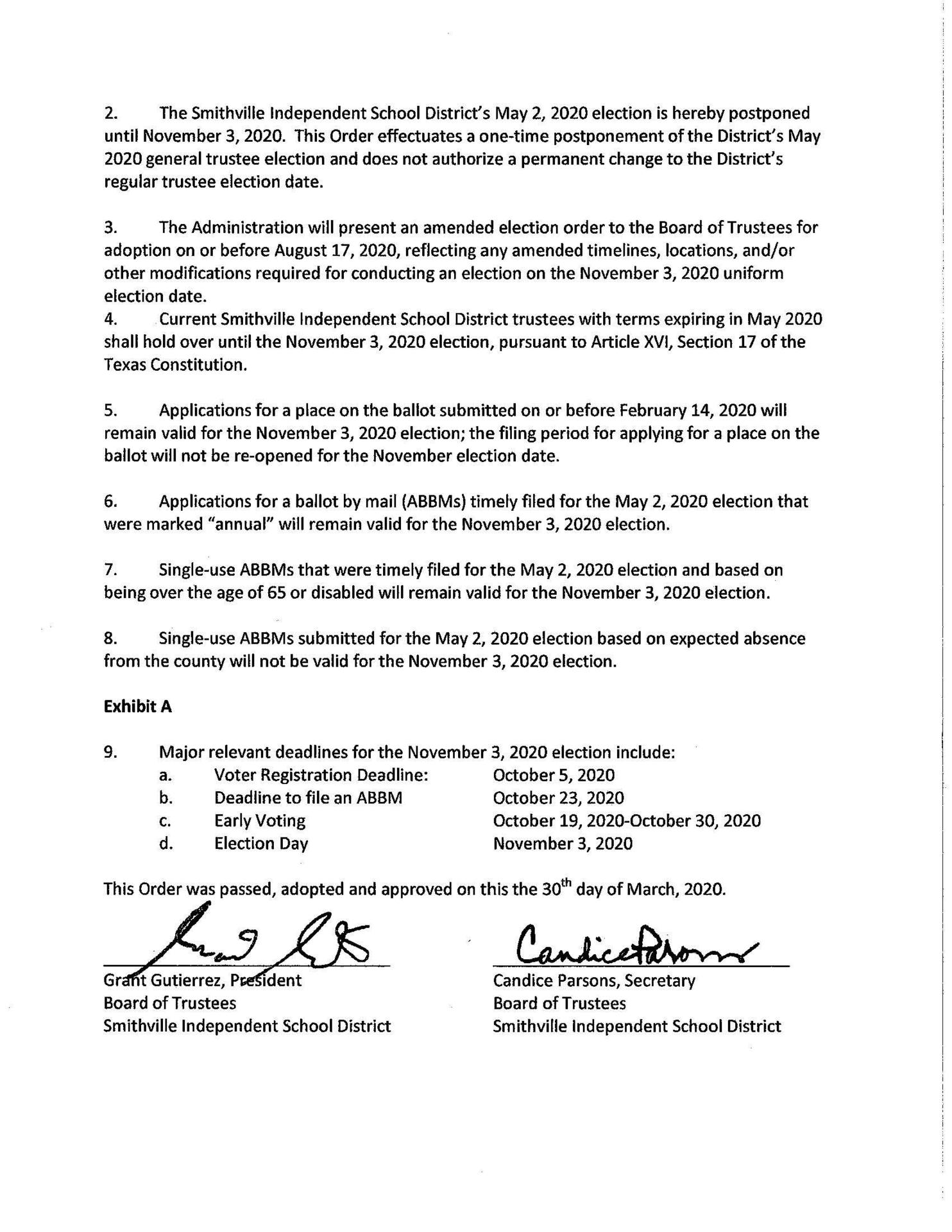 Order of Postponement page 2
