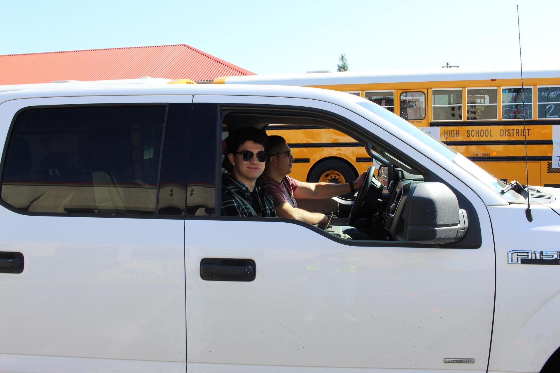 Alfredo Luna driving through