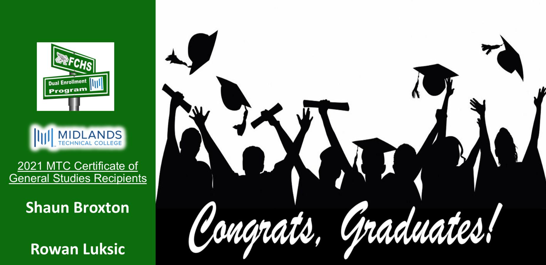2021 MTC Certificate of General Studies Recipients   Shaun Broxton  Rowan Luksic