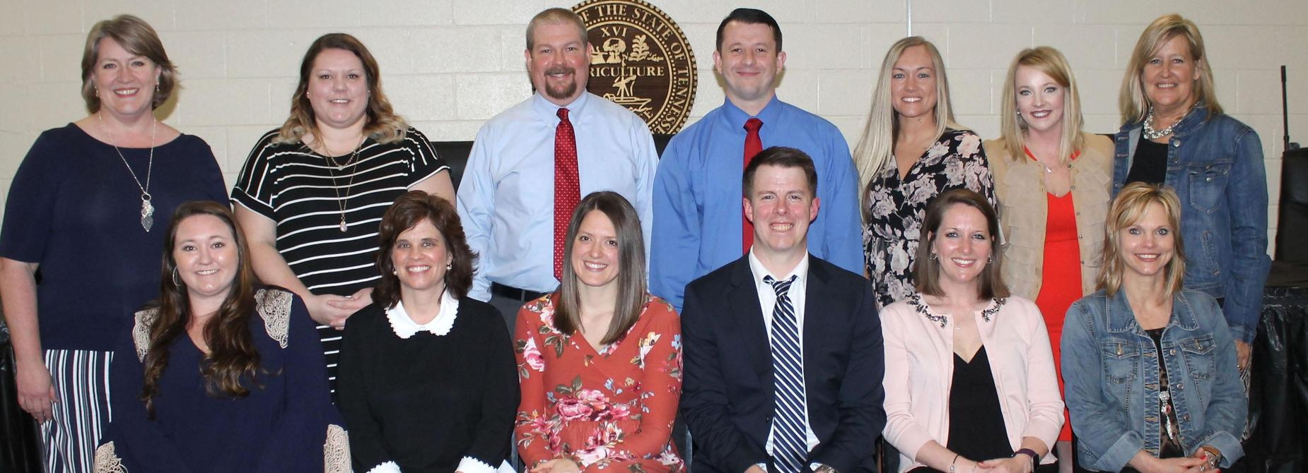 The 2017-2018 Cheatham County Teachers of the Year are pictured with Director of Schools Dr. Cathy Beck.