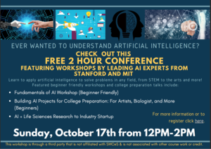 Flier announcing artificial Intelligence workshop for high school students. For more information contact Cindy at chouston@southwestcoloradoeschool.org