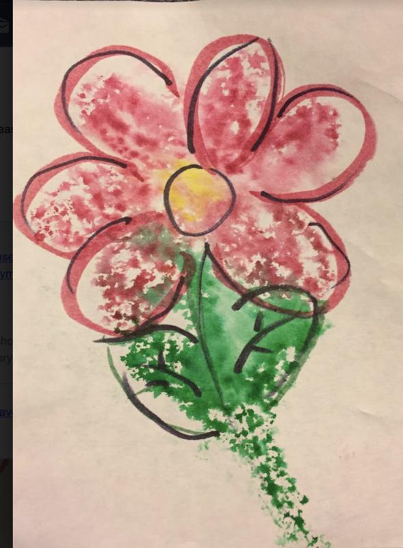 Monoprinted flower