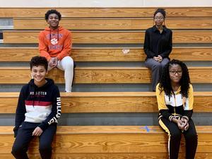 Some of Pine Ridge Middle School's Myrdis Walker scholars