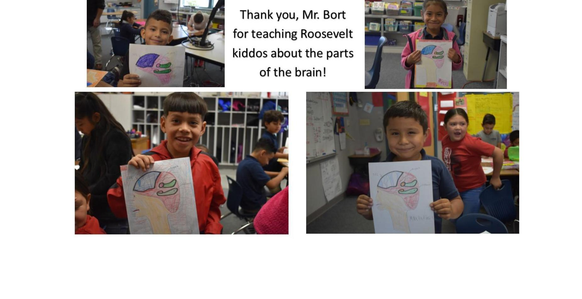 Thank you Mr. bort for teaching our students about the brain.  There are four students holding pictures they drew and labeled of the brain.