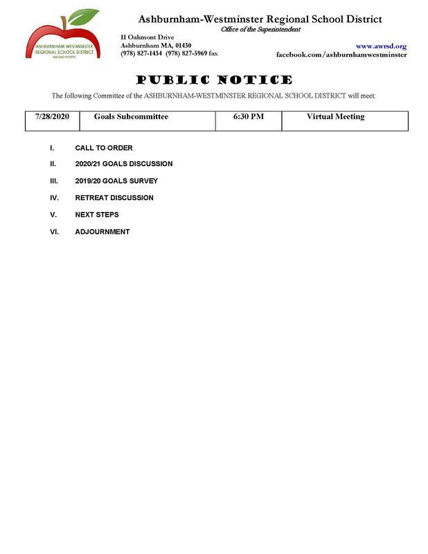 Goals Subcommittee Agenda Image