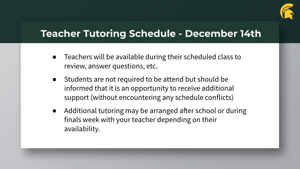 Teacher Tutoring on December 14