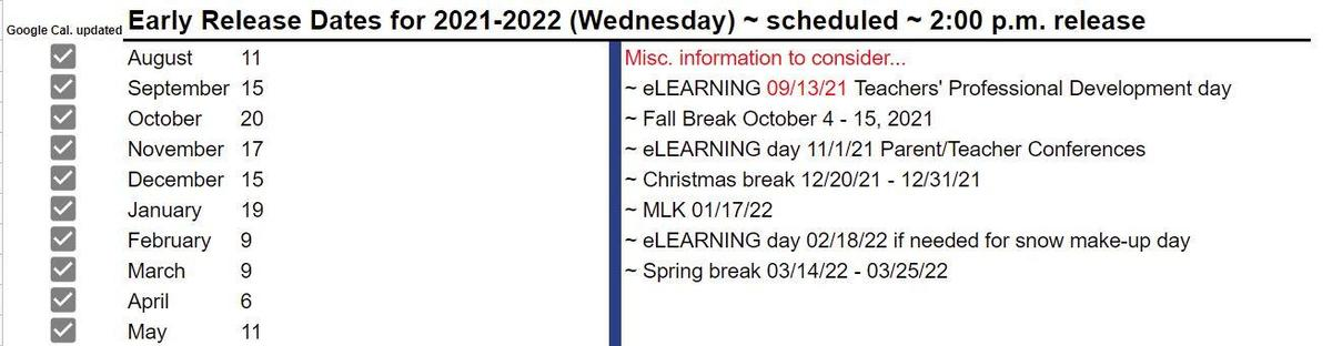 Early Release Days 2021-2022