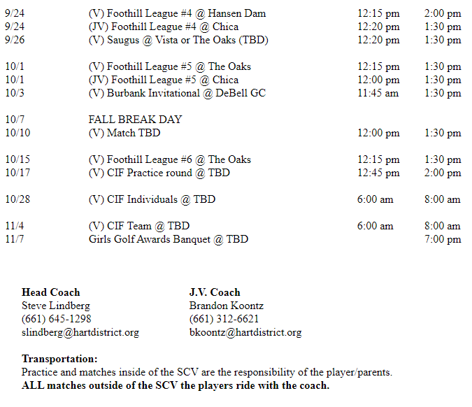 Girls Golf Schedule Page 2