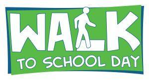 Green and White Sign that says Walk to School Day