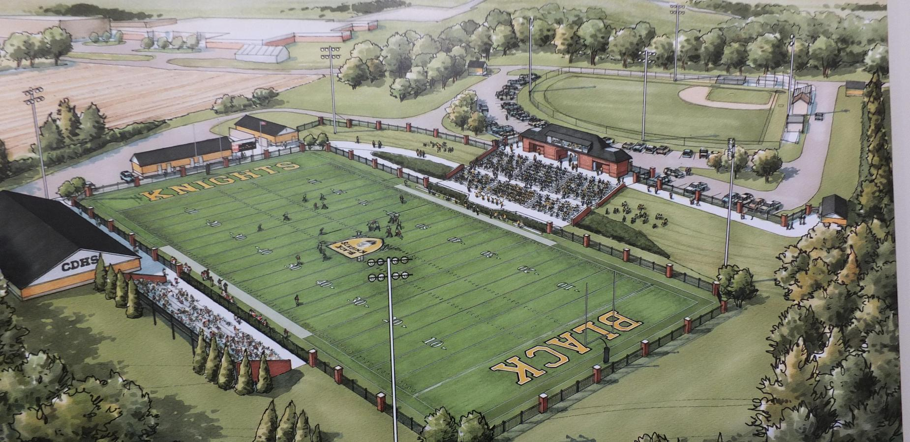Drawing of plans for future CDHS football field and baseball field