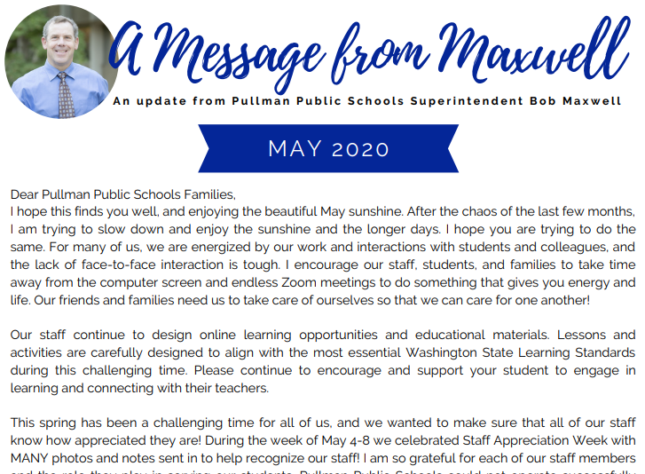 A Message from Maxwell, Superintendent's Newsletter - May 2020 Thumbnail Image