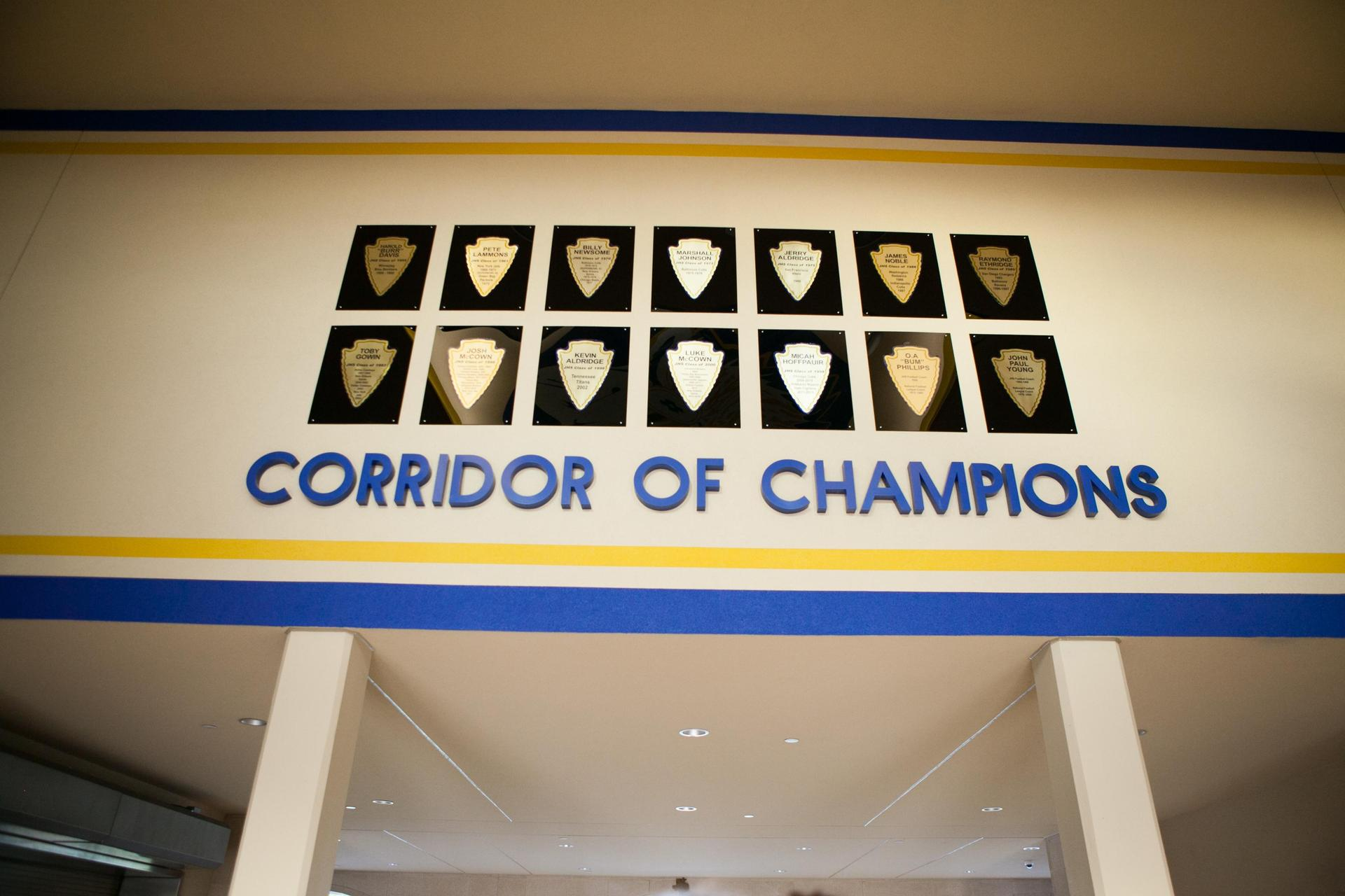 wall of champions in the stadium