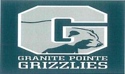 An image of a Granite Pointe logo with a grizzly bear inside of a big letter G, on a green-blue backdrop