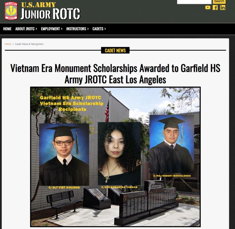 Vietnam Era Monument Scholarships Awarded to Garfield HS Army JROTC East Los Angeles