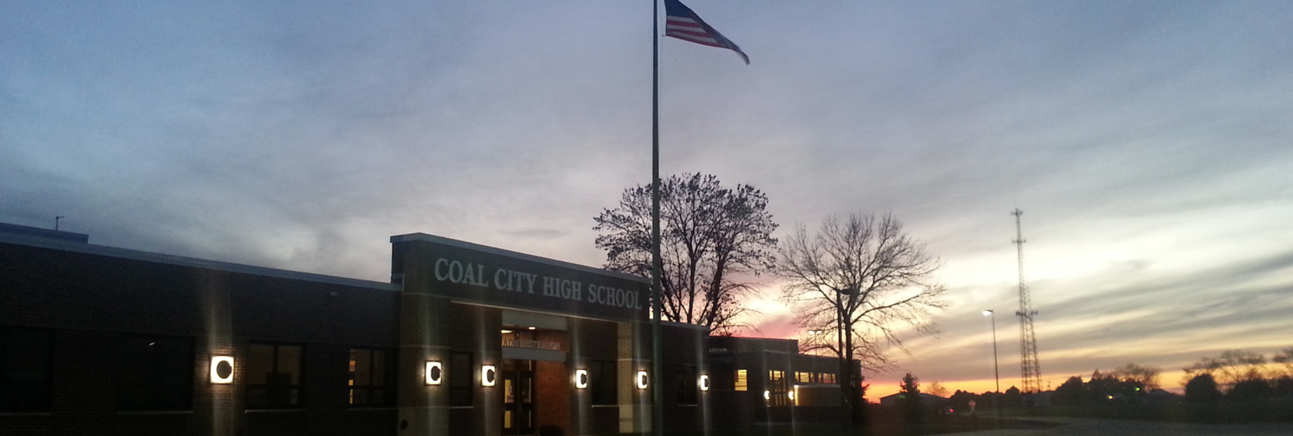 Coal City HS at sunset
