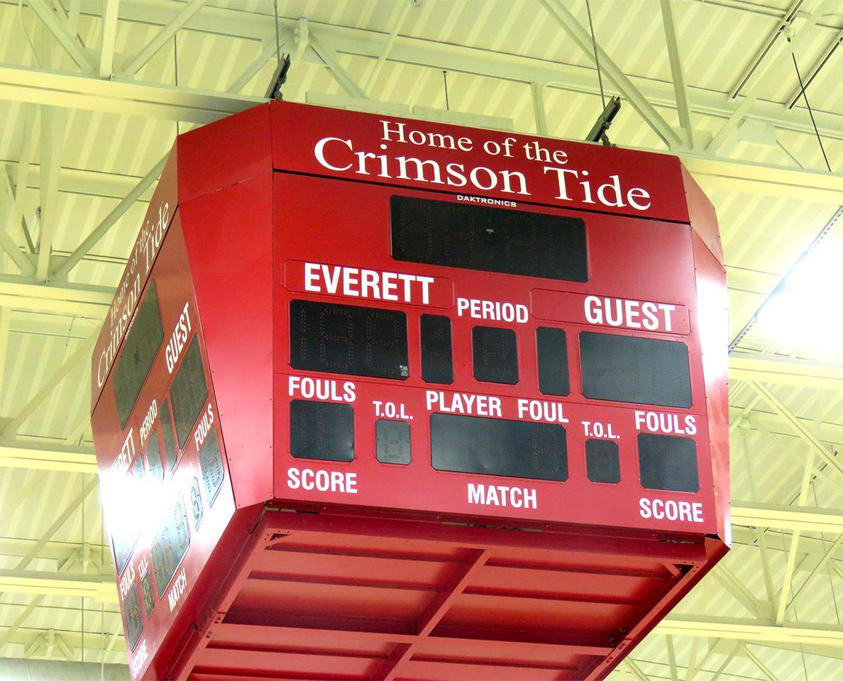 The scoreboard inside the EHS Gymnasium