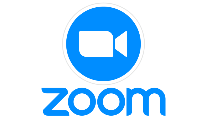the image is the company Zoom's logo. a video message icon in white and blue with the word