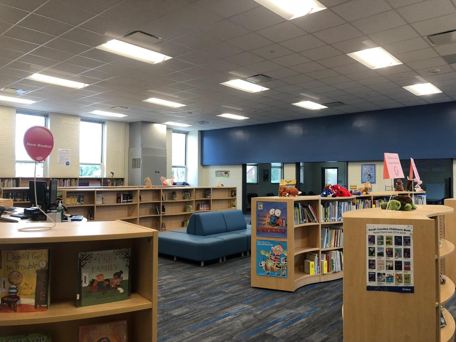 New bookshelves and seating in the new Media Center at Springdale Elmentary
