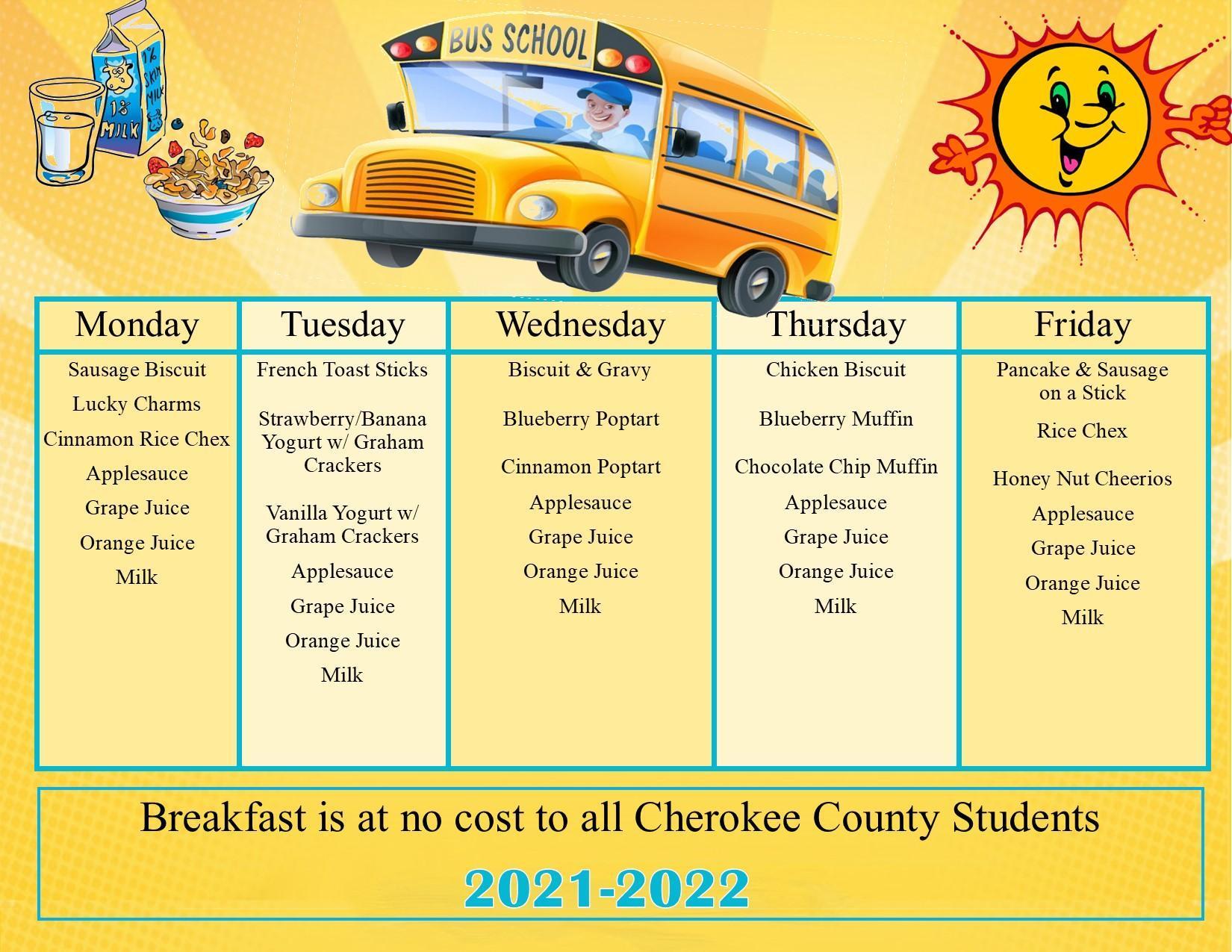 August & September Breakfast Menu