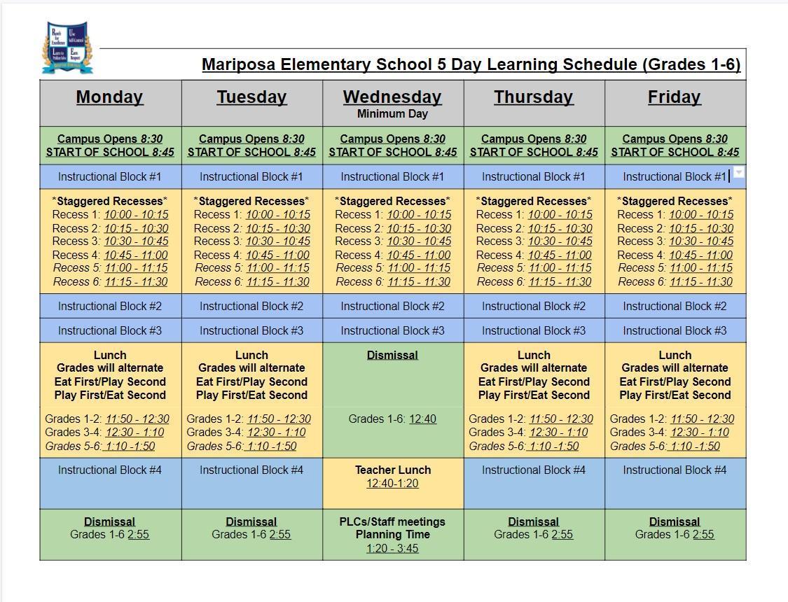Mariposa Bell Schedule Grades 1-6