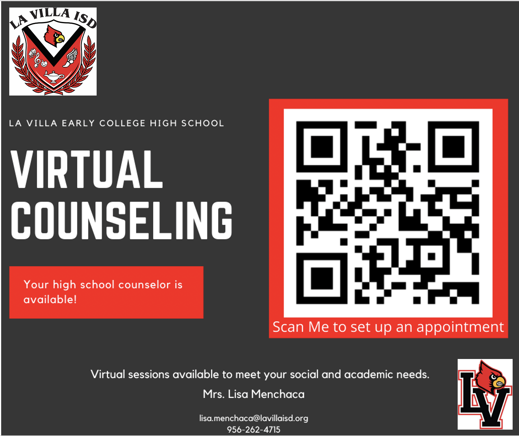 Virtual Counseling Available @ LVECHS Image