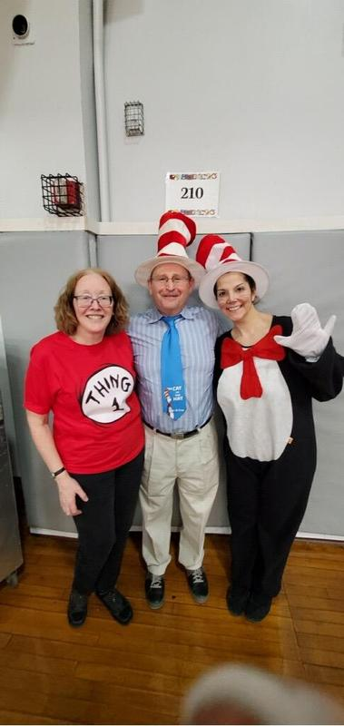 Cat in the hat with Principal O'Connell and Mr. Abbato