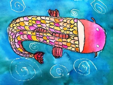 Mixed Media Koi Fish- 1st Grade